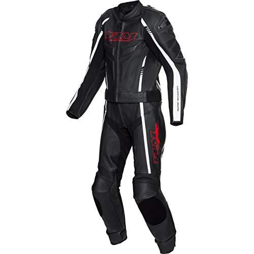 FLM Traje de piel para moto con protectores, 2 piezas, deportivo, de piel, 2 piezas, color negro y rojo blanco / rojo 58
