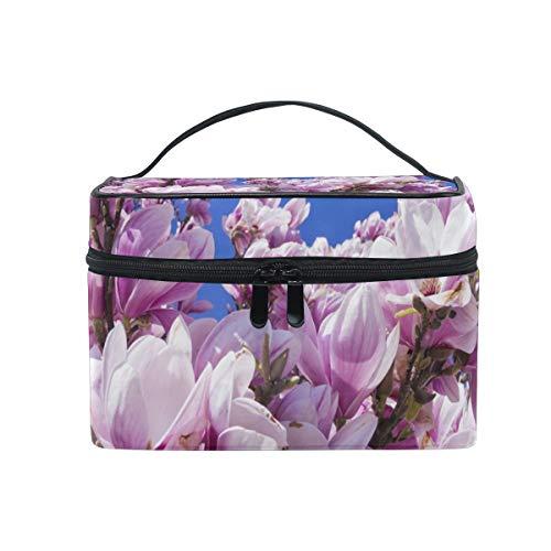 Magnolia Fleur Rose Trousse Cosmétique Voyage Maquillage Organisateur pour Femme Fille Trousse de Toilette Portable Stockage Cosmétique Pouch en Toile