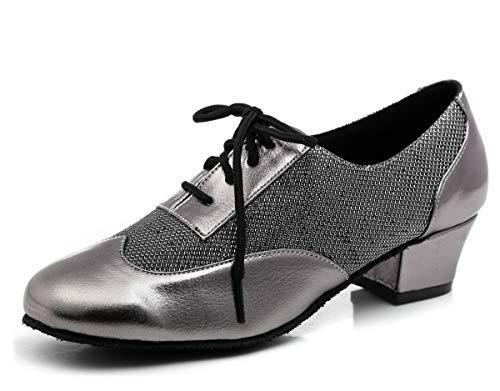 Hanfike Zapatos de noche para las mujeres con cordones bloque bombas de fiesta de tacón bajo, gris, 40 EU
