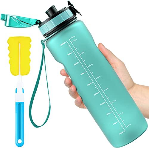 Leytn Botella Agua Deportes 1000ML, Botella de Agua Tritan Sin BPA Reutilizable con Filtro y Cepillo de Limpieza Marcador de Tiempo Botellas para Niños, Gimnasio, Yoga, Bicicletas - Menta Verd