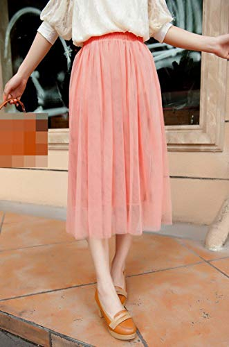Color Caramelo Falda Plisada Faldas Sólidas Malla Skater Verano Mujeres Sexy Largas Faldas