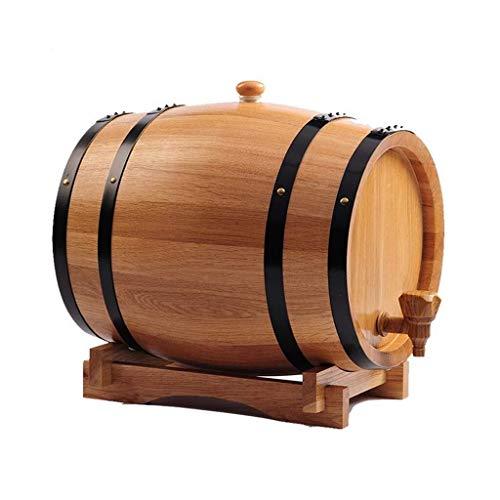 Globe Dekanter Set Whiskeykaraffe Whisky Dekanter Eichenfass, Jahrgang Holz Eiche Holzweinfass for Bier Whisky Rum Hafen Keg Raum, Holz Farbe, Kristallglas Whisky (Color : B, Size : 20l)