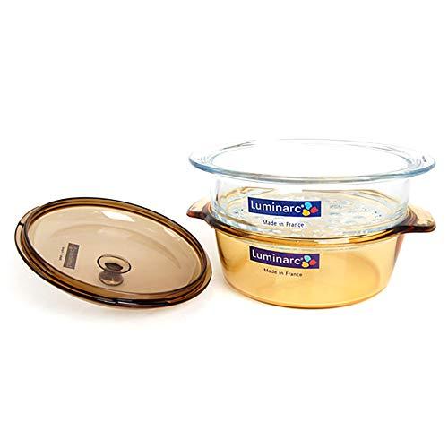Luminarc Vitro Blooming Cookware Set, 2-Quart Cooking Pot with Steamer Basket, 3-Piece