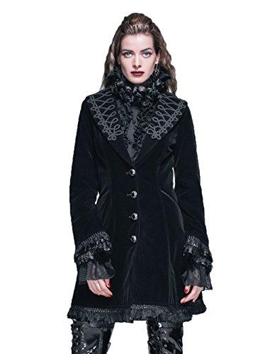 Gótico Señoras Otoño Invierno Retro Elegante V Cuello Chaqueta Sencilla Steampunk Palace Estilo Largo Abrigo Victoriano Para Las Mujeres (L, Negro)