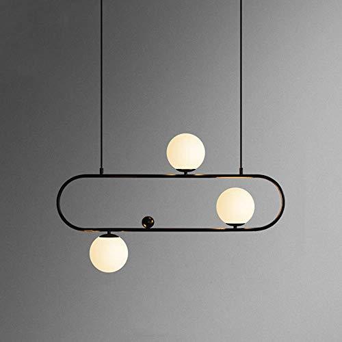 Postmoderne restaurant Magic Bean kroonluchter Droplight Nordic creatieve ovale glazen bol hanglamp E27 metaal hanglamp voor commerciële decoratie plafondverlichting, D-B Zwart-3 koppen