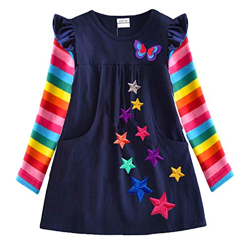 VIKITA Vestidos para Niñas T-Shirt Manga Larga Algodón Casual Patrón de Estrella Lh5808 4T