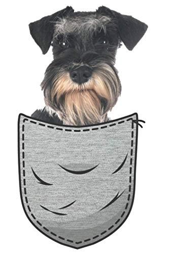Riesen-schnauzer Zwergschnauzer Brust-Tasche Pocket: DIN A5 Liniert 120 Seiten / 60 Blätter Notizbuch Notizheft Notiz-BlockHunde die in der Brusttasche sitzen Hundeliebhaber