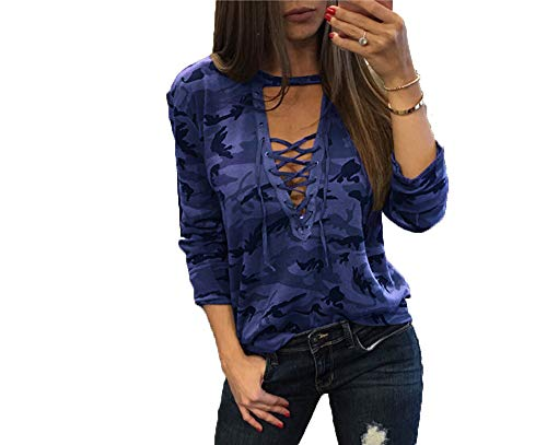 T-Shirt Langarm Tarnung Deep V Low Chest Strappy Damenoberteil
