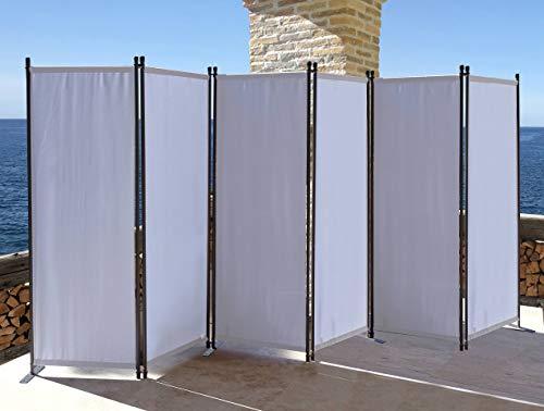QUICK STAR Paravent 6 Teilig 340x165cm Stoff Raumteiler Trennwand Balkon Sichtschutz Stellwand Faltbar Weiß