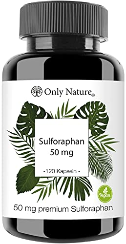 OnlyNature® Brokkoli Kapseln -50mgreines Sulforaphan-hochdosiert- 120 Laborgeprüfte Kapseln-vegan-ohneZusätze-inDeutschland produziert - Sulforaphan Kapseln