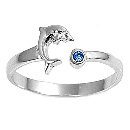 7K Zehenring aus 925 Sterling Silber als Fußschmuck für Damen, Herren und Mädchen, Größenverstellbar, Blauer Zirkonia Delfin