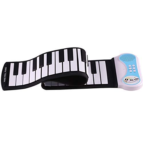 MSQL 49 Tasten Faltbares Handrollenklavier Elektronisches Tasteninstrument für Kinder, 8 Tone 6 Demo Songs, Wasserdichte Silikon-Tastatur, für Anfänger