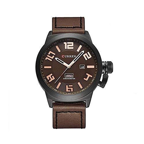 CURREN Herren-Armbanduhr mit Datumsanzeige, Lederarmband, Sportuhr für Herren 8270