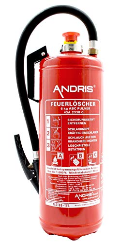 Orig. ANDRIS® Marken-Feuerlöscher 6kg ABC Pulver Aufladelöscher 12 LE EN3 inkl. Wandhalterung, Löschmittel:Pulver