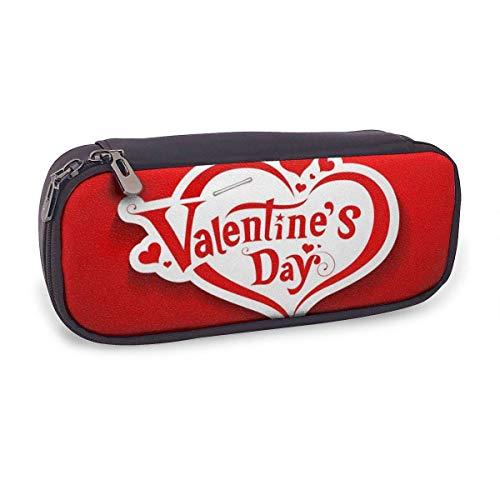 Estuche Escolar de Gran Capacidad,Mensaje de San Valentín En Rojo,Bolsa de Lápiz Organizador para Material Papelería con Cremallera Doble
