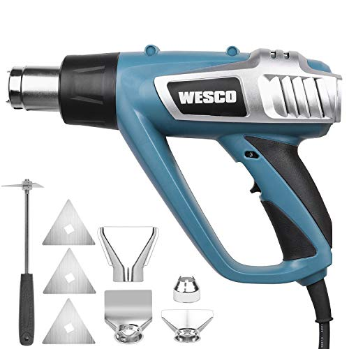 Heat Gun, WESCO 1800W Hot Air Gun Kit, 3-Temp Settings 77℉-662℉-1022℉, 3 Scraper Blades, 4 Nozzles with Scraper, Overload Protection for Crafts, Shrinking PVC, Tubing, Paint Removal/WS6432U