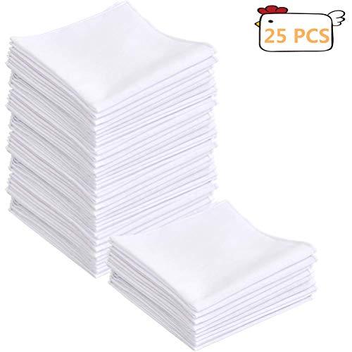 BUYGOO 25PCS Taschentücher Baumwolle Stofftaschentücher - 28 x 28cm Taschentücher Stoff Damen und Herren in weiß, Kleine Einstecktücher für Frauen und Männer