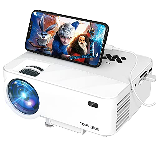 Mini Projector, TOPVISION Outdoor Movie Projector with Screen Mirroring, 1080P Video Projector 200'' Display, 80,000 Hrs Lamp Life Phone Projector Compatible with Firestick,HDMI,VGA,USB,TV,laptop, DVD