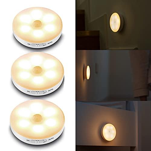 Luz Nocturna, Cadrim Luces Armario LED con Sensor Movimiento Recargable USB (3 pack), luz de Armario/Gabinete, Lámpara Nocturna LED Inalámbrica para Cocina, Vitrina, Tocador, Pasillo, Escalera etc
