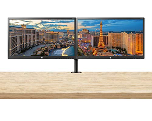 HP 22uh 21.5-inch Full HD 1920 x 1080 LED Backlit LCD Monitor 2-Pack Bundle with HDMI, VGA, DVI Ports, and Desk Mount Clamp Dual Monitor Stand