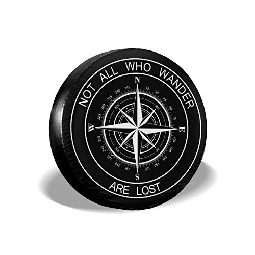 Pingping Not All Who Wander are Lost Spare Tire Cover Waterproof Dust-Proof Universal Spare Wheel Tire Cover Fit for Jeep, Camper Travel Trailer, RV, SUV, Truck and Many Vehicle 17'