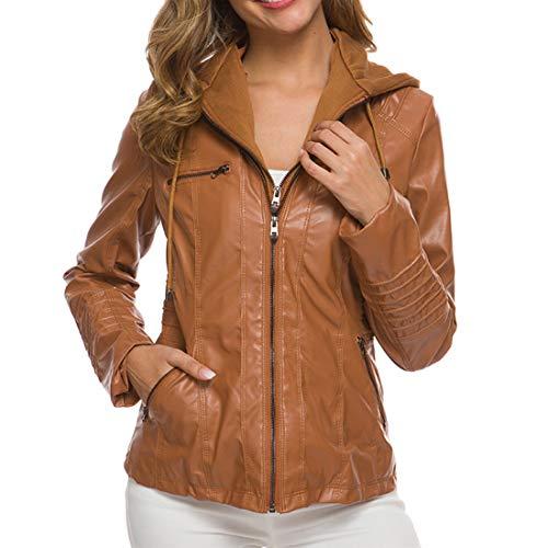 Jacket Women Long Sleeve Top Leather Jacket Women Hoodie Faux Leather Jacket with Zipper Drawstring Pockets Motorcycle Biker Transition Jacket Upgraded Version Coat Women M