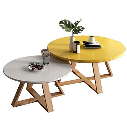 mesas nido salon Pack 2, Mesas de centro modernas de madera redonda, Mesas de sofá de patas de madera de haya, Ø50cmx40cm + Ø70cmx 45cm
