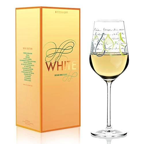 RITZENHOFF White Weißweinglas von Virginia Romo, aus Kristallglas, 360 ml, mit edlen Platinanteilen
