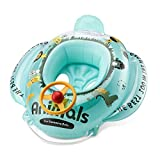 Free Swimming Baby Inflatable Animals Swim Seat Float Boat for Kids Aged 6-36 Months (Blue)
