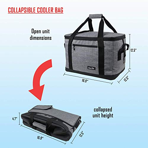 Hap Tim Soft Cooler Bag 40-Can Large Reusable Grocery Bags Upgraded Soft Sided Collapsible Travel Cooler for Outdoor Travel Hiking Beach Picnic BBQ Party (US13634-Dark Grey)