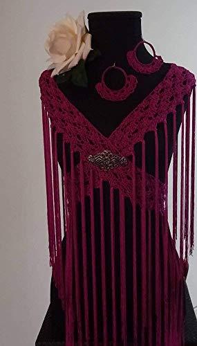 Mantoncillo de Flamenca a Crochet color rojo