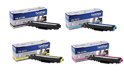 Brother Genuine TN227BK, TN227C, TN227M, TN227Y High Yield Black/Cyan/Magenta/Yellow Toner Cartridge Set, TN227