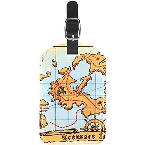 Antiguo Mapa Pirata Etiquetas de Equipaje Lindo Cuero Personalizado con Lazo para Bolsa de Maleta de Viaje casmonal para Mujeres, Hombres y niños 11.4x7.1cm