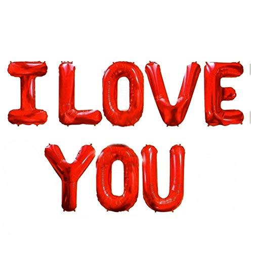 JUSTFOX - 8 TLG I Love You Buchstaben Luftballon Set 40CM Folienballon Valentinstag Deko Rot