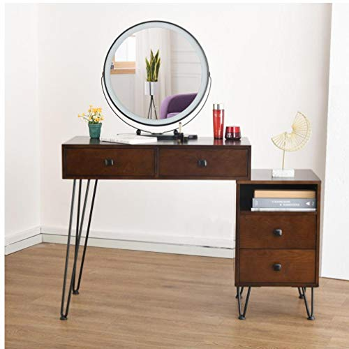 Yililay Vanity Set with Touch Screen Dimming Mirror,Black Iron Dresser Solid Wood Makeup Desk Storage Modern Bedroom Makeup Table and Cushioned Stool Set for Women Girls.