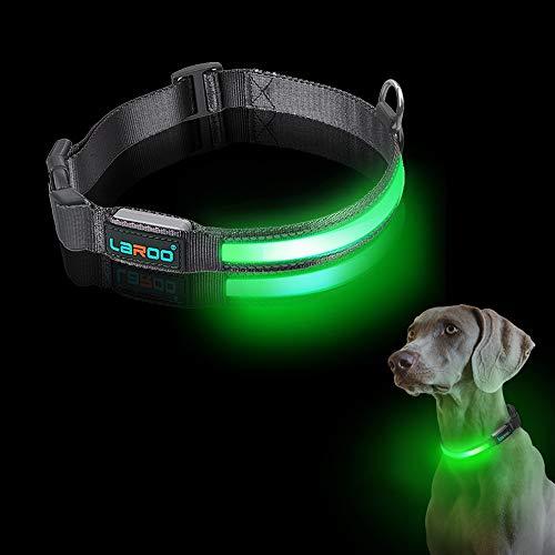 LaRoo LED Haustier Leuchthalsband, Nylon Leine Halsband USB Wiederaufladbare mit 3 Beleuchtungsmodi Wasserdicht Verstellbarer Leuchtendes Hundehalsband Licht Leuchtendes für Hund