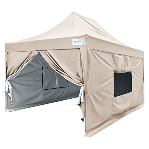 Quictent Privacy 10x15 ft Ez Pop up Canopy Tent Enclosed Outdoor Instant Shelter Party Tent Event Gazebo with Sidewalls and Mesh Windows Waterproof (Beige)