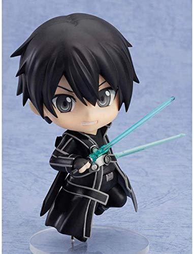 STKCST Anime Doll Sword Art Online Kirito Black Swordsman Figura de acción Versión en Caja Escultura Decoración Estatua Muñeca Modelo Figura de Juguete Altura 9cm