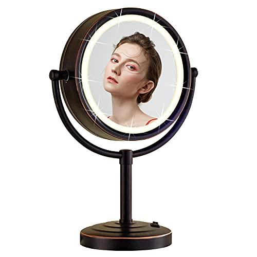 Grand miroir sur pied de maquillage avec lumière LED - 7 compartiments - Noir - Diamètre : 21,5 cm - 7 cm