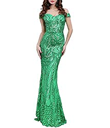 Green Sequin Off-Shoulder Bra & Backless Maxi Evening Party Dress