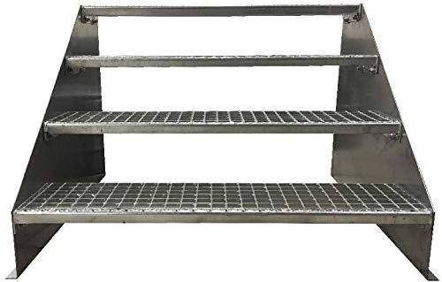 4 Stufen Standtreppe Stahltreppe freistehend Breite 60cm Höhe 84cm Verzinkt/Robuste Außentreppe/Stabile Industrietreppe für den Außenbereich