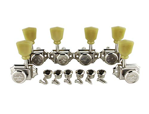 Guyker 6Pcs Guitar Machine Heads (3R + 3L) – Locking String Vintage Deluxe Tuning Key Pegs Nickel Tuners Set Replacement Parts for Electric or Acoustic Guitars – (Yellow Green Handle)