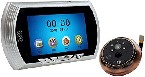 ZJDM Videoportero Sistema de Timbre de Video Inteligente de 4.3 Pulgadas con Monitor 1.3 Millones de cámaras analógicas de Alta definición Detección de Movimiento Función de visión Nocturna 140 &
