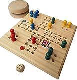 Set Ekeko Parchis+, Pack de 2 Juegos de Madera Mini, Parchis y Yoyó, en Practica Bolsa de Regalo de Algodon. Ludo & Yo-yo Pack