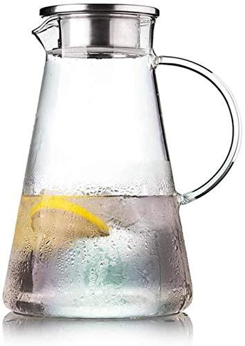 GAOYINMEI Tetera Tetera l Bidón de Agua de la Jarra de Cristal BPA Libre de garrafa de Primera Calidad Boquilla/con Tapa de Acero Inoxidable y práctica asa de Jugo de Frutas Agua fría (Size : 2000ml)