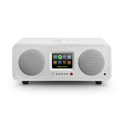 NUMAN One 2.1 - Internet-Radio, Design Netzwerk-Mediaplayer, DAB/DAB+ / UKW-Empfänger, Spotify Connect, TFT-Display, RDS, Wi-Fi/LAN-Konnektivität, Bluetooth, 20 Watt RMS-Leistung, weiß