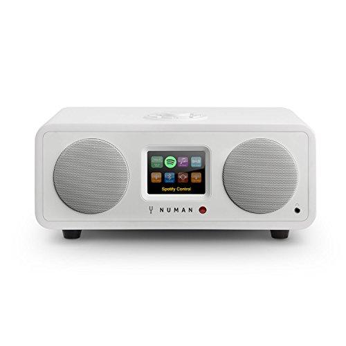 NUMAN One 2.1 - internetradio, design netwerk mediaspeler, DAB/DAB + / FM-ontvanger, Spotify Connect, TFT-display, RDS, Wi-Fi/LAN-connectiviteit, Bluetooth, 20 watt RMS-vermogen, wit