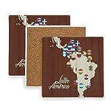 PANILUR Tapis de Tasse à caféTour Mappa Dell'America Latina I Paesi di Bandiere Astratto Colorato,Sous verre en céramique