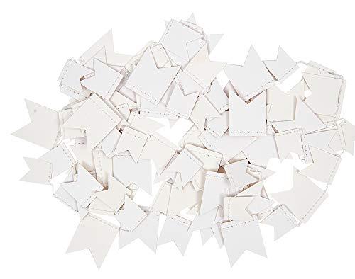 Mini blanco papel guirnalda banderín banderines para adultos manualidades–2,7m