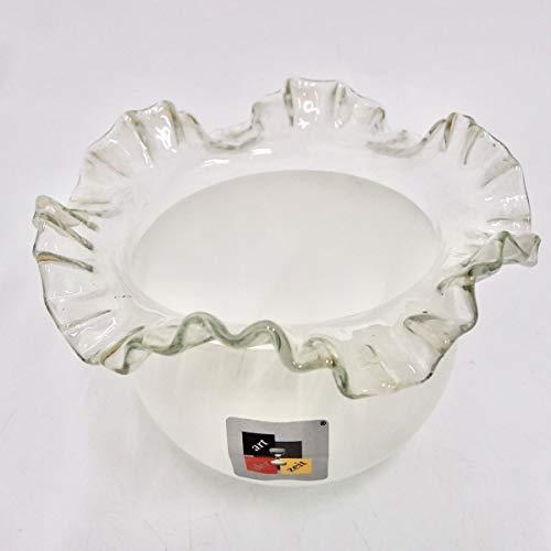 Lampenschirm 120 160 44 mm Glas weiß transparent Röckchenschirm 60er Tischlampe